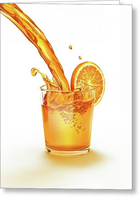 Orange Juice Being Poured Into A Glass Greeting Card by Leonello Calvetti