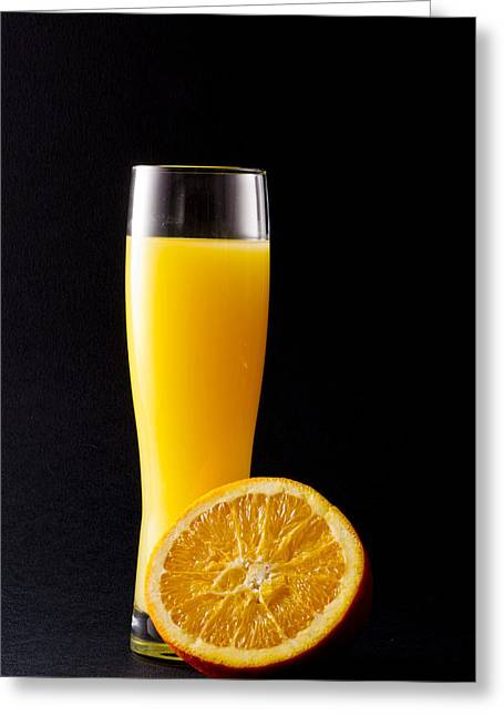 Orange Juice Greeting Card by Gergana Chakalova