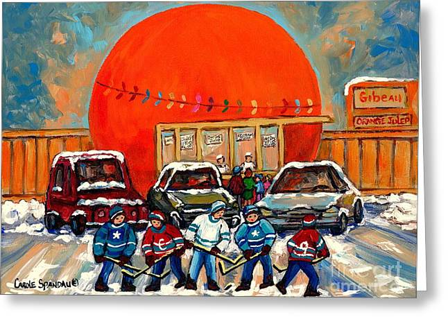 Orange Julep Greeting Cards - Hot Hockey Game Cool Julep At Montreals Roadside Attraction The Orange Julep By Carole Spandau Greeting Card by Carole Spandau