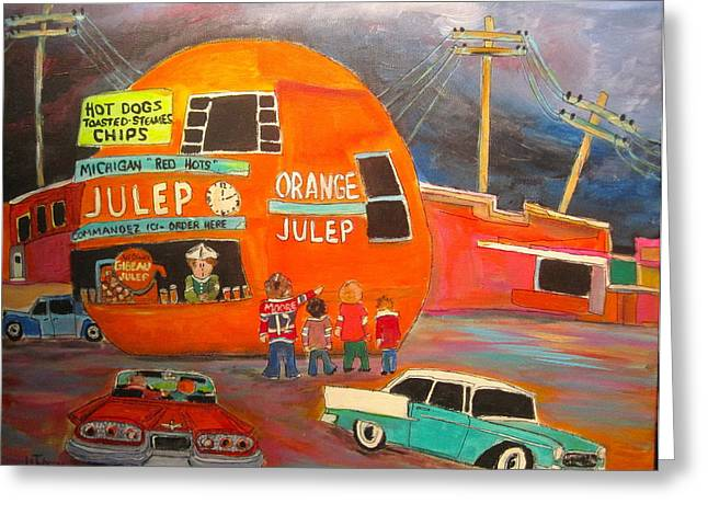 Orange Julep Greeting Cards - Orange Julep Icon Greeting Card by Michael Litvack