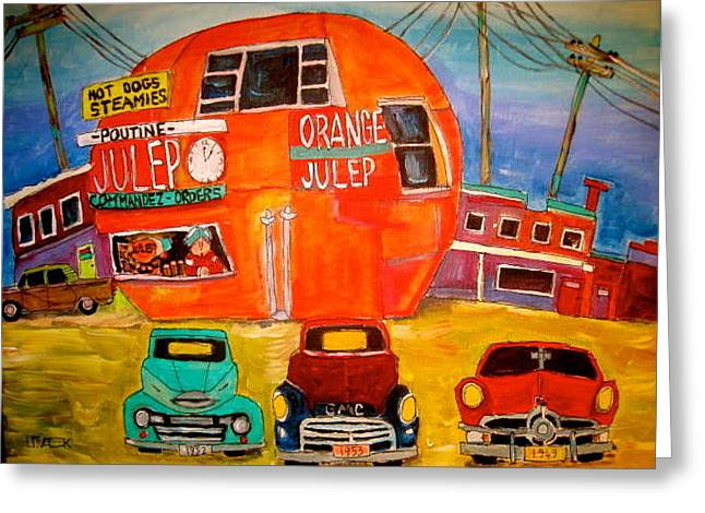 Orange Julep Greeting Cards - Orange Julep Truck line-up Montreal Memories Greeting Card by Michael Litvack