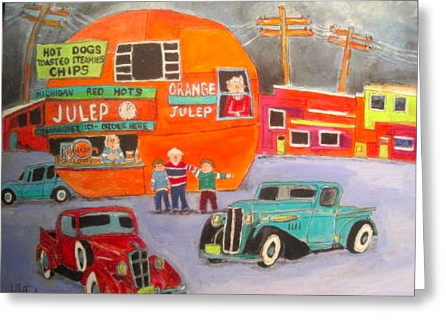 Orange Julep Greeting Cards - Orange Julep Trucks Montreal Memories Greeting Card by Michael Litvack