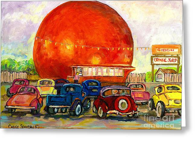 Orange Julep Greeting Cards - Orange Julep With Antique Cars Greeting Card by Carole Spandau