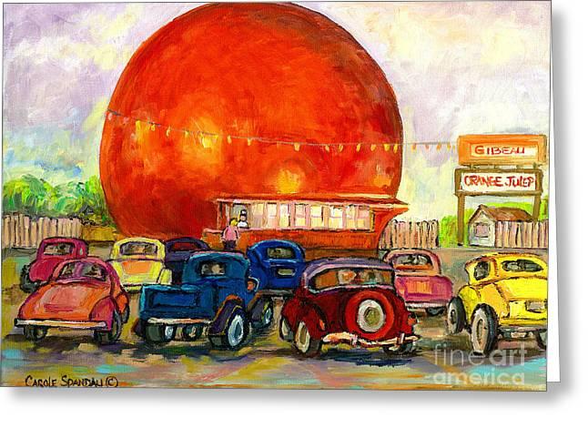 Orange Julep With Antique Cars Greeting Card by CAROLE SPANDAU