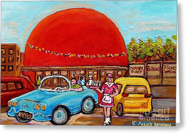 Orange Julep Greeting Cards - Orange Julep With Girl On Rollerblades Paintings Of Montreal Landmarks Diner Carole Spandau Greeting Card by Carole Spandau