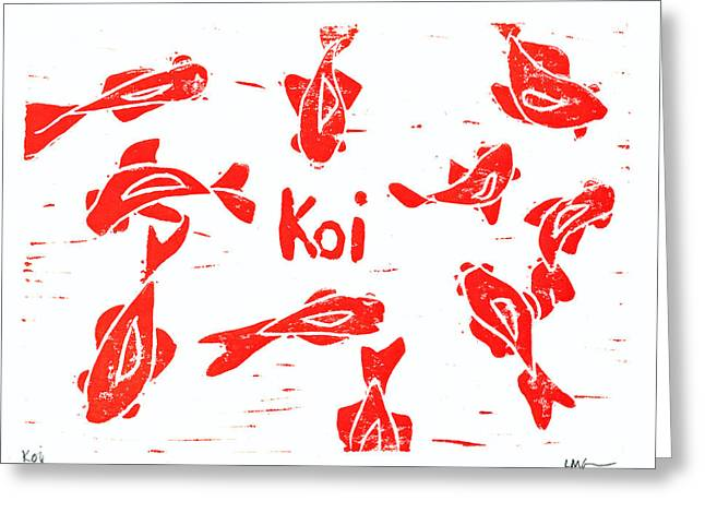Fun Reliefs Greeting Cards - Orange Lazy Koi Greeting Card by Lynn-Marie Gildersleeve