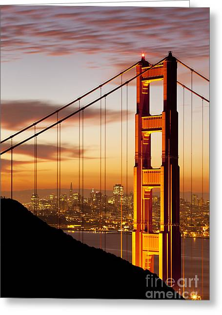 Sunrise. Water Greeting Cards - Orange Light at Dawn Greeting Card by Brian Jannsen