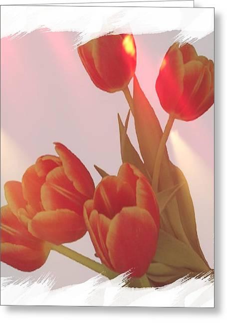 Orange Light Greeting Card by Debra  Miller