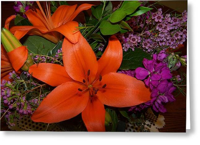 Oranage Greeting Cards - Orange Lilly Greeting Card by Dianne Stopponi