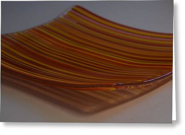 Lines Glass Art Greeting Cards - Orange Linear Plate Greeting Card by Rosalind Duffy