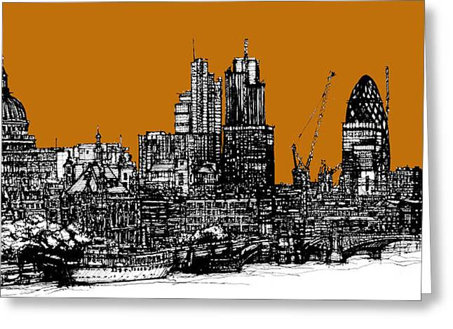 Pen And Ink Framed Prints Greeting Cards - Orange London skies Greeting Card by Lee-Ann Adendorff
