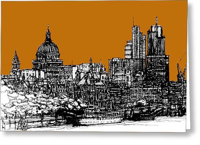 Pen And Ink Framed Prints Greeting Cards - Dark Ink with bright Orange London skies Greeting Card by Lee-Ann Adendorff