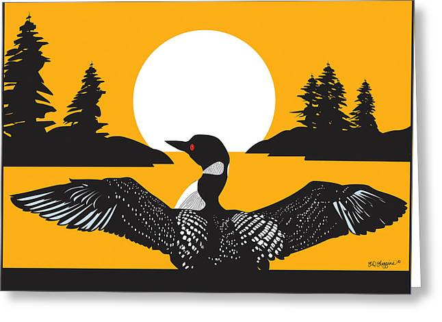 Great Birds Digital Greeting Cards - Orange Loon Greeting Card by Derrick Higgins