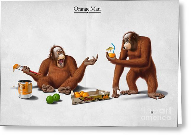 Orangutans Greeting Cards - Orange Man Greeting Card by Rob Snow