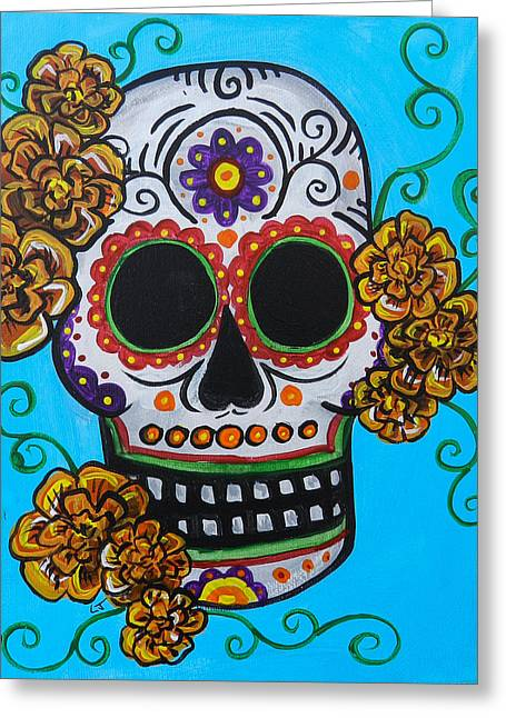 Marigold Festival Greeting Cards - Orange Marigold Skull Greeting Card by Lovejoy Creations