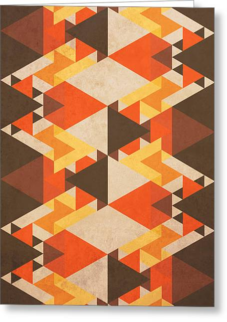 Tribal Greeting Cards - Orange Maze Greeting Card by VessDSign