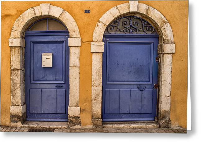 France Doors Greeting Cards - Twin Doors Greeting Card by Nomad Art And  Design