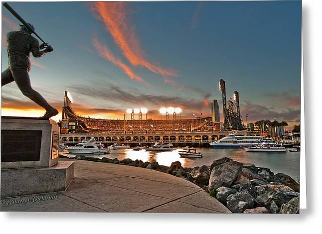 Att Baseball Park Greeting Cards - Orange October 2012 Celebrates The San Francisco Giants Greeting Card by Jorge Guerzon