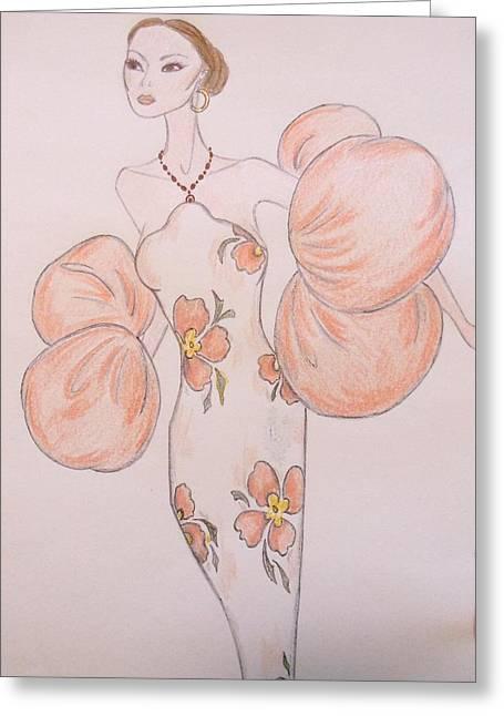 Evening Dress Pastels Greeting Cards - Orange Organza Greeting Card by Christine Corretti