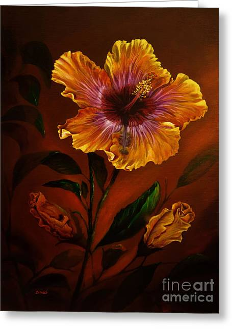 Orange Painted Hibiscus Greeting Card by Zina Stromberg