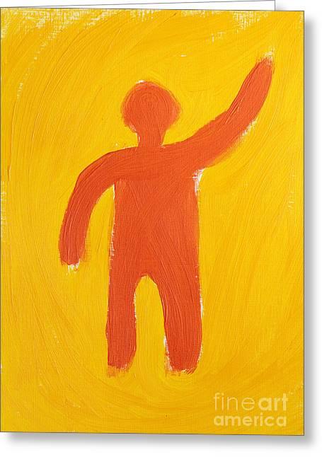 Human Spirit Paintings Greeting Cards - Orange Person Greeting Card by Igor Kislev