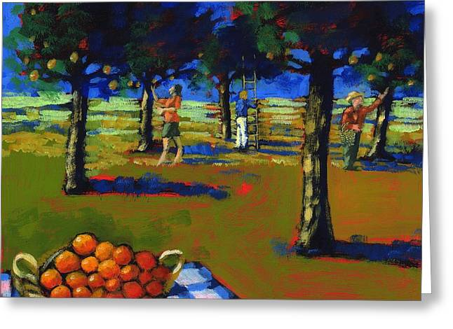Orchard Greeting Cards - Orange Picking, 2008 Acrylic On Board Greeting Card by Paul Powis
