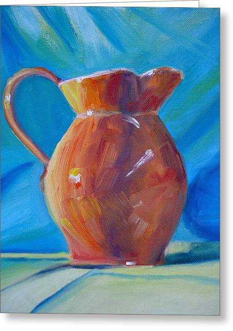 Pottery Pitcher Paintings Greeting Cards - Orange Pitcher Still Life Greeting Card by Donna Tuten