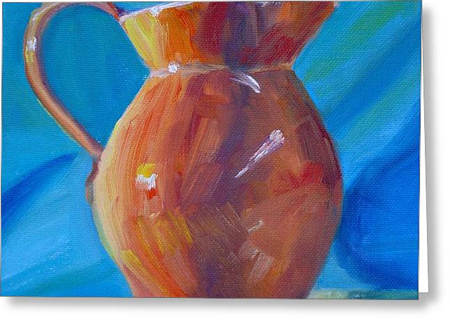 Orange Pitcher Still Life Greeting Card by Donna Tuten