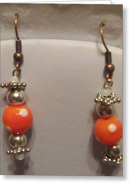 Dot Jewelry Greeting Cards - Orange Polka Dot and Silver Earrings Greeting Card by Kimberly Johnson