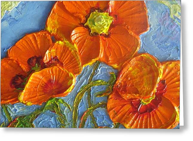 Lancaster Fine Arts Greeting Cards - Orange Poppies II Greeting Card by Paris Wyatt Llanso