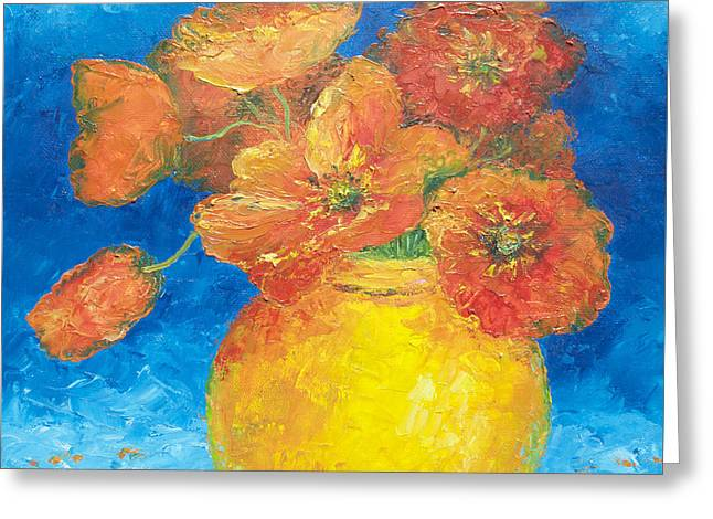 Print Of Poppy Greeting Cards - Orange Poppies in yellow vase Greeting Card by Jan Matson