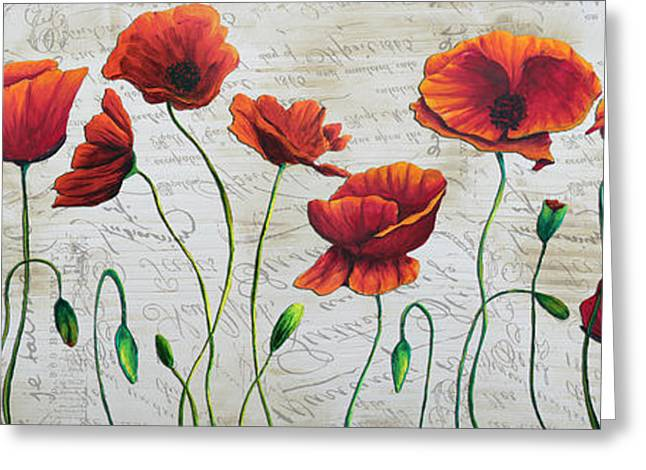 Orange Poppies Original Abstract Flower Painting by Megan Duncanson Greeting Card by Megan Duncanson