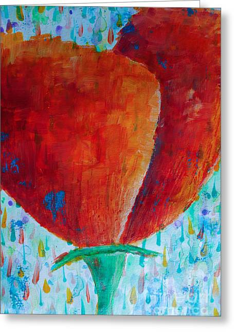 Sunday Stroll Greeting Cards - Orange Poppy Greeting Card by Jacqueline Athmann