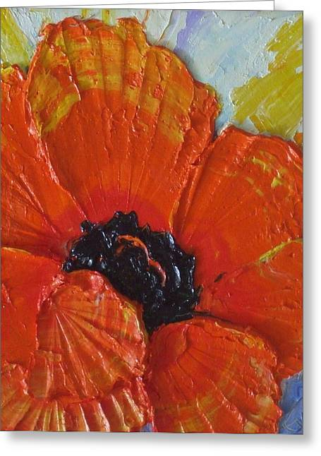 Orange Poppy Greeting Card by Paris Wyatt Llanso