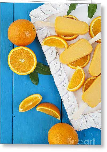 Sorbet Greeting Cards - Orange Popsicle Ice Cream Bars Greeting Card by Brenda Carson