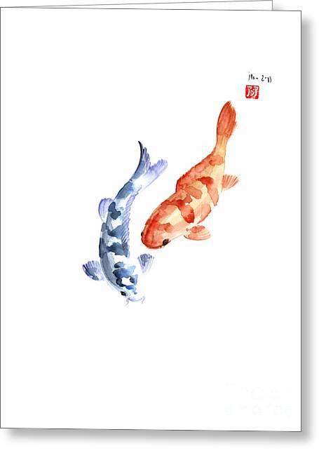 Orange Red Blue Fish Pisces Koi Carp Zodiac Ocean Animal World Water Colors Watercolors Painting Greeting Card by Johana Szmerdt