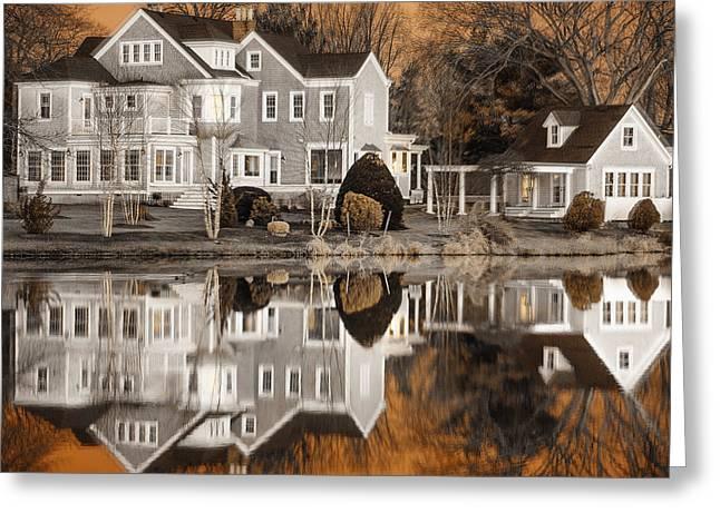 Babylon Village Greeting Cards - Orange Reflection Greeting Card by Vicki Jauron