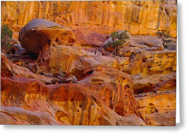 Southwestern Photography Greeting Cards - Orange Rock Formation Greeting Card by Jeff  Swan
