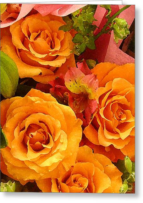 Pink Roses Greeting Cards - Orange Roses Greeting Card by Amy Vangsgard
