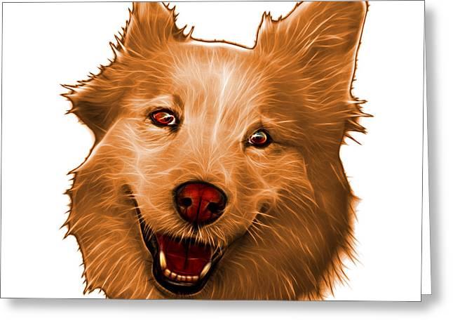 Mixed Labrador Retriever Paintings Greeting Cards - Orange Siberian Husky Mix Dog Pop Art - 5060 WB Greeting Card by James Ahn