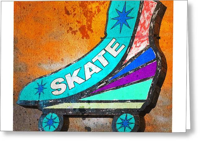 Antique Skates Greeting Cards - Orange Skate Greeting Card by Gail Lawnicki