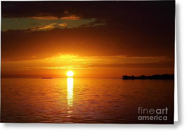 Cedar Key Greeting Cards - Orange Sky  Greeting Card by D Hackett