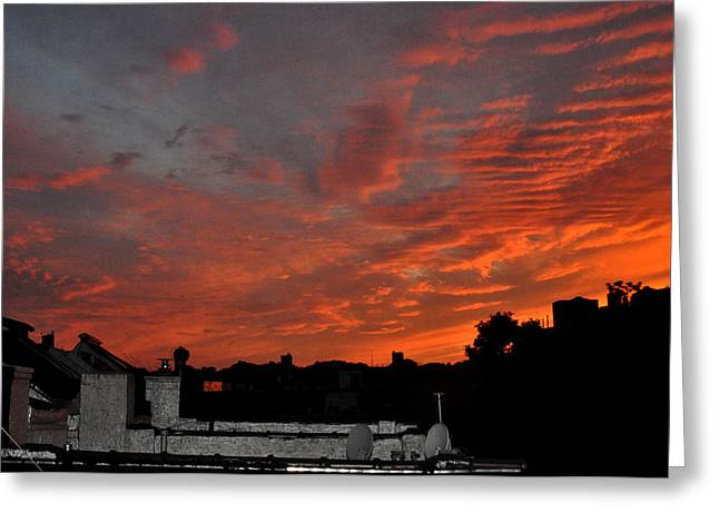 Orange Sky From Brooklyn Roof Greeting Card by Diane Lent