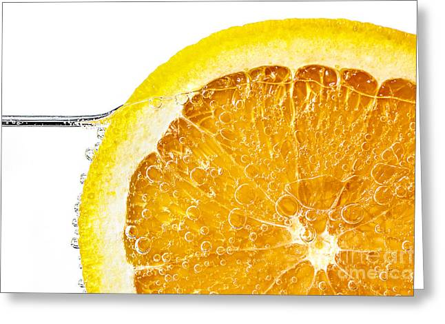 Bubbly Greeting Cards - Orange slice in water Greeting Card by Elena Elisseeva