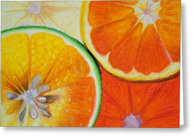 Grapefruit Drawings Greeting Cards - Orange Slices Greeting Card by Caroline  Reid