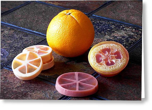 Pa Mixed Media Greeting Cards - Orange Slices Soap Greeting Card by Anastasiya Malakhova
