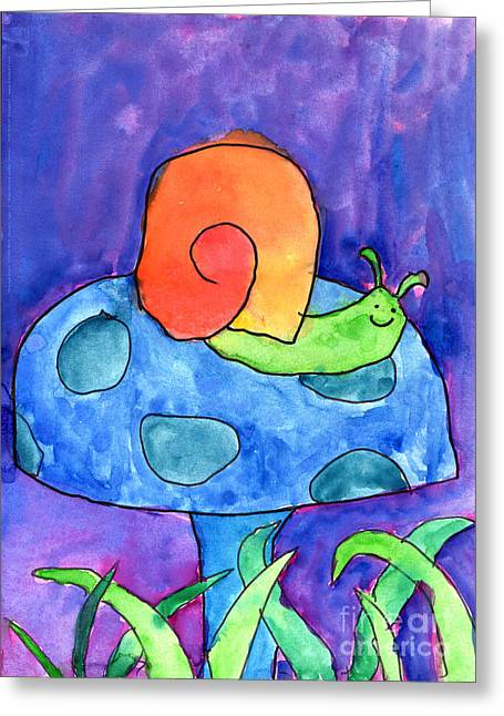 Purple Mushrooms Greeting Cards - Orange Snail Greeting Card by Nick Abrams Age Twelve