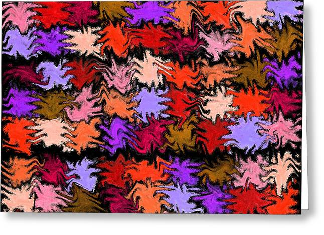 Unique Quilts Greeting Cards - Orange Squiggle Quilt Abstract Greeting Card by Karen Adams