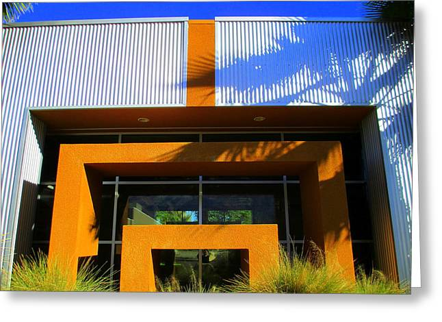 Metal Sheet Greeting Cards - Orange Stucco Sheet Metal Glass And Grasses Greeting Card by Randall Weidner