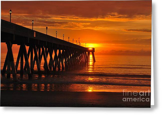 Interior Scene Greeting Cards - Orange Sky At Sunrise  Greeting Card by Bob Sample